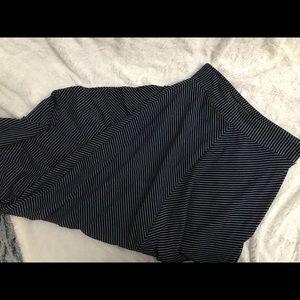 Navy & White striped flowy maxi